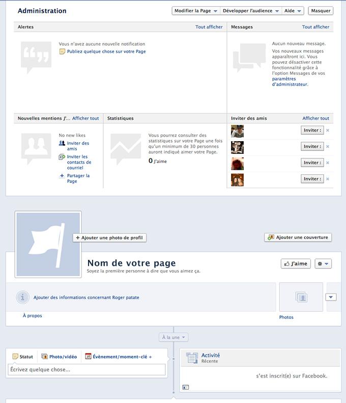 Début Page Facebook